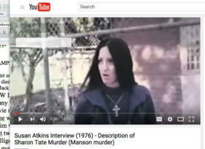 Susan Atkins in 'prison.' The crucifix is a no-no; sharpened, it could be deadly.