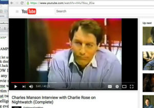 The media of course was vital in the extended nature of the Manson fraud. Charlie Rose here, no bars on the windows...